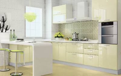 Light Yellow Color Kitchen Cabinet Modern Style Kitchen Cabinet High Quality Kitchen Cabinet